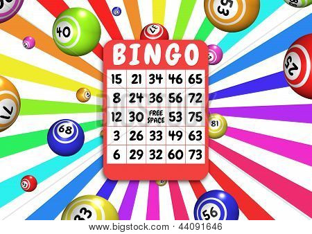 Bingo card and balls