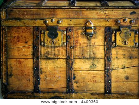 Old Wooden Chest, Trunk In Golden Color
