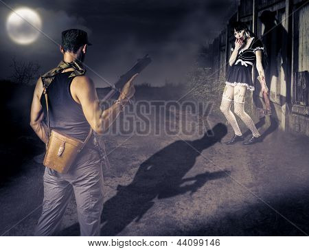 Military Man And Female Zombie