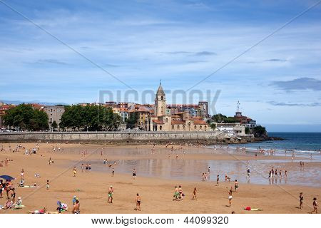 People In The Beach Of Gijon
