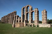 stock photo of aqueduct  - An old  roman aqueduct in Merida Spain - JPG