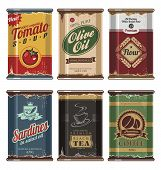 stock photo of cans  - Retro and vintage food cans vector collection - JPG