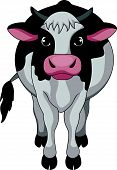 stock photo of moo-cow  - Vector illustration of Cute cow cartoon standing - JPG