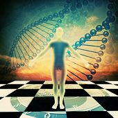foto of double helix  - Abstract environmental backgrounds with human DNA for your design - JPG