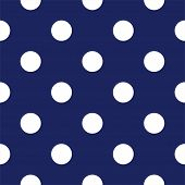 Seamless vector pattern with big white polka dots on a sailor navy blue background