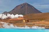 Geothermal Power Station And Bright Turquoise Lake In Iceland