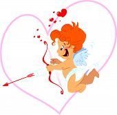 stock photo of ero  - A cute cupid with orange hair and red bow and arrow - JPG