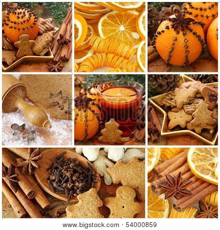 Christmas cakes and spices collage