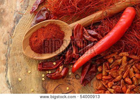 Assortment of chili, close up