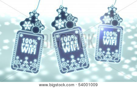 Three Christmas Labels With 100 Percent Free Wifi Sign