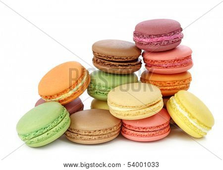 Colorful macaroons isolated on white background