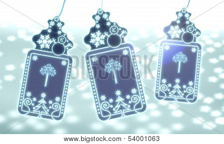 Three Christmas Labels With Abstract Tree Sticker