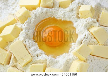 Baking ingredients for shortcrust  pastry, close up