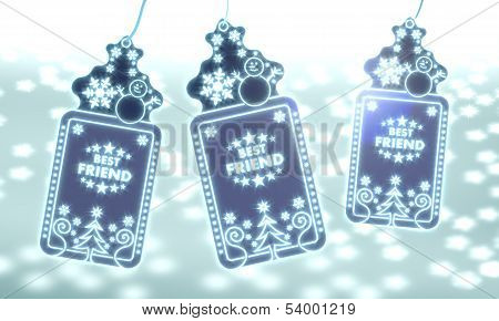 Three Christmas Labels With Best Friend Sticker
