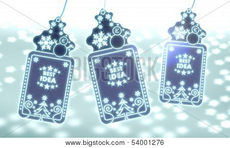 Three Christmas Labels With Best Idea Sticker