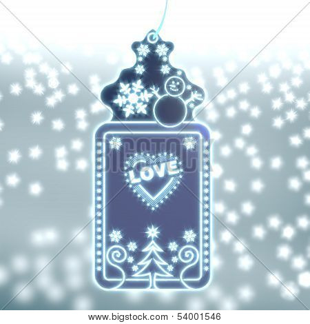 Magic Christmas Label With Heart With Stars Sign