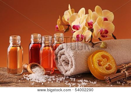 Spa still life with essential oils and orchid