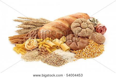 Foods high in carbohydrate, isolated on white
