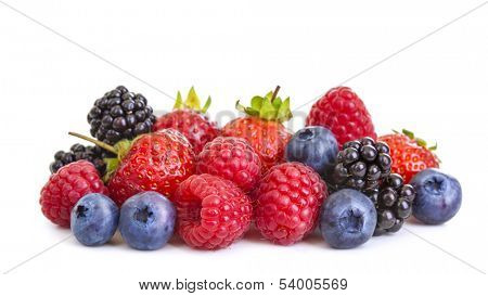 Group of berries isolated on white background