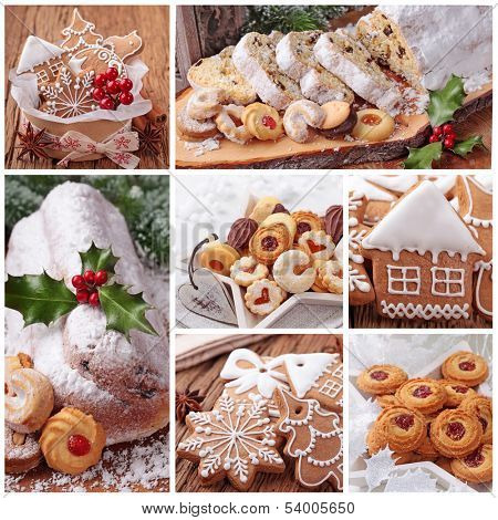 Christmas gingerbread cookies and stollen cake collage