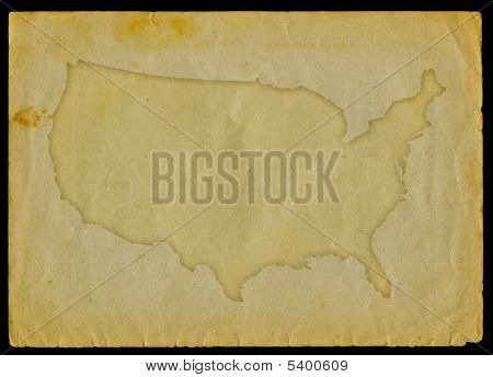 Usa map on old paper