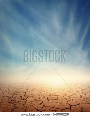 Desert landscape background global warming concept