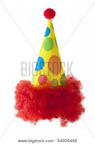 Clown hat with red hair isolated on white background