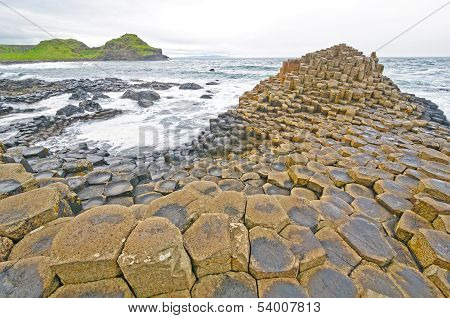 Dramatic View Of Basalt Columns On The Coast
