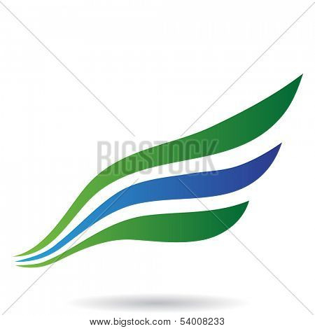 Blue and Green Bird Wing Abstract Icon