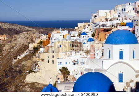 Blue Dome Churches And Cyclades Architecture Oia Ia Santorini Greek Islands