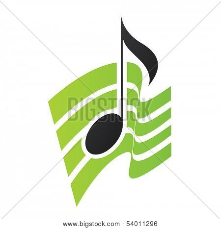 Illustration of Green Musical Note isolated on a white background