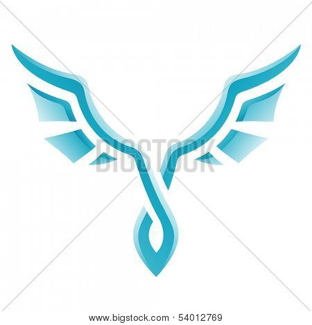 Illustration of Blue Bird Icon isolated on a white background