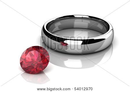 Jewellery Ring On A White Background.