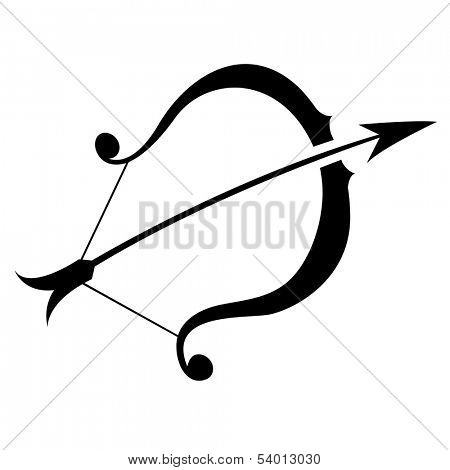 Illustration of Black Sagittarius Zodiac Star Sign isolated on a white background