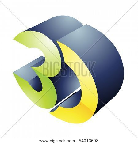 Illustration of 3d Display Technology Symbol isolated on a white background