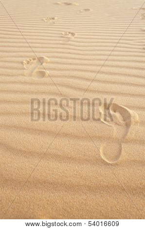 Footprints In The Sand. White Sand Dunes. Mui Ne. Vietnam
