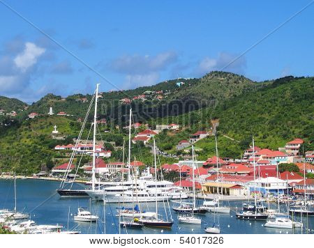 Gustavia Harbor with mega yachts at St. Barts, French West Indies