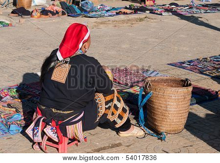 Unidentified Hmong Tribe Woman On The Market. Sapa. Vietnam