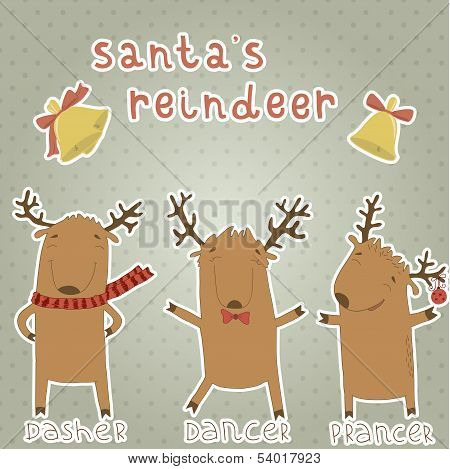 Set of labels with Santa's reindeer.
