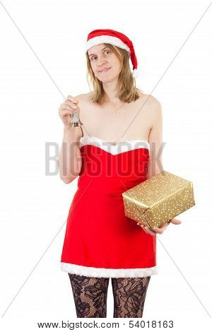 Mrs. Claus With Small Bell And Golden Gift