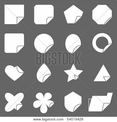 Corner Lebel Icons On Gray Background