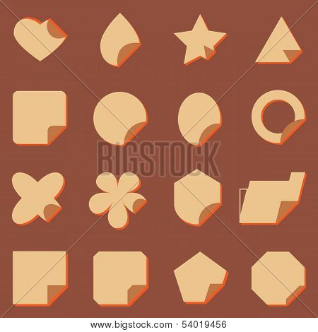 Vintage Corner Lebel Icons With Shadow