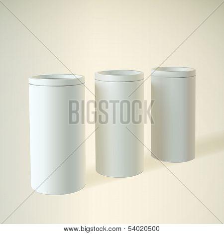 Blank white round tube or box