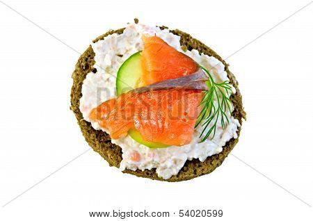 Sandwich With Salmon And Cream On Top