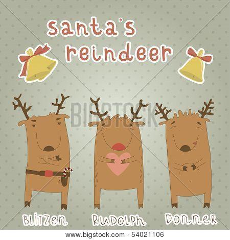 Set of labels with Santa's reindeer.
