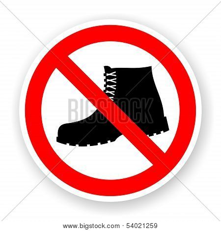 Sticker Of No Boots Sign