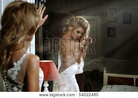 Two beauty women in room
