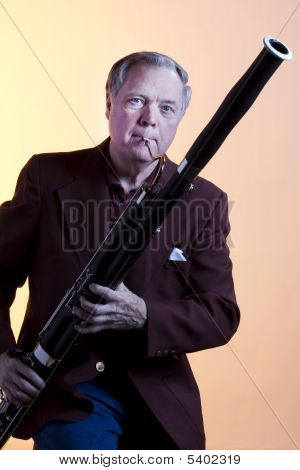 Musician Playing Bassoon Isolated
