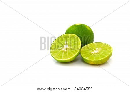 one and haft Lime isolated on white background