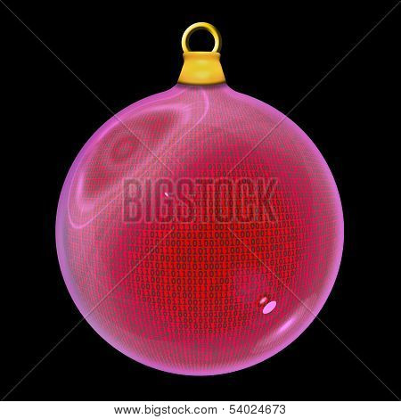 Binary Code Christmas Bauble In Red